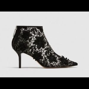 Zara black lace booties sz 8 NWT